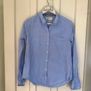 Hollister Blue & Flower Button Down Shirt